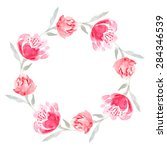 watercolor floral wreath of... | Shutterstock .eps vector #284346539