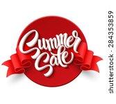 summer sale. ribbon label.... | Shutterstock .eps vector #284353859