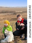 Children With Cat And Dog