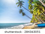 coconut sunny summer day at the ... | Shutterstock . vector #284363051