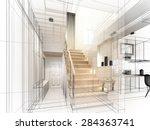 sketch design of stair hall ... | Shutterstock . vector #284363741