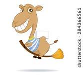 A Cartoon Camel Riding On A...