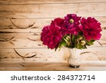 floral frame with pink peonies... | Shutterstock . vector #284372714