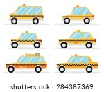 taxi car set. flat design | Shutterstock .eps vector #284387369