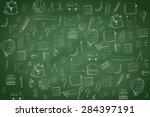 school pattern on green... | Shutterstock . vector #284397191