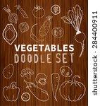 vegetables doodle set. ... | Shutterstock .eps vector #284400911