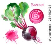 set of vegetables painted with... | Shutterstock .eps vector #284403419