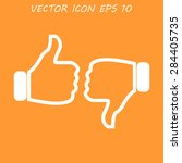 thumb up icon  flat design.... | Shutterstock .eps vector #284405735