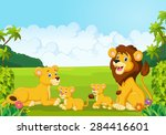 Cartoon Lion Family