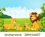 cartoon lion family    Shutterstock . vector #284416607
