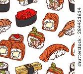 japanese cuisine. sushi. vector ... | Shutterstock .eps vector #284421614