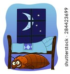 cartoon malicious bedbug hiding ... | Shutterstock .eps vector #284423699
