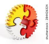 multi colored puzzle parts...   Shutterstock . vector #284426324