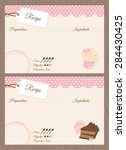 blank cake themed recipe cards...   Shutterstock .eps vector #284430425