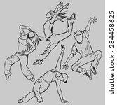 sketching of the jazz dancer ... | Shutterstock .eps vector #284458625