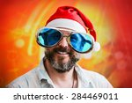 man with fashionable big beard... | Shutterstock . vector #284469011