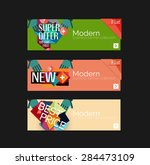 set of banners with stickers ... | Shutterstock .eps vector #284473109