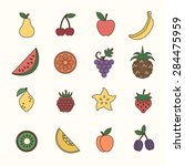 colored icons fruits | Shutterstock .eps vector #284475959