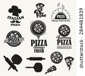 retro pizza logotypes set.... | Shutterstock .eps vector #284481839