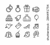 wedding icons set. outline... | Shutterstock .eps vector #284491754