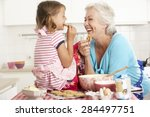 grandmother and granddaughter... | Shutterstock . vector #284497751
