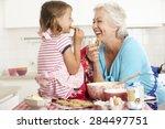 grandmother and granddaughter... | Shutterstock . vector #284497751