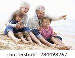 grandparents and grandchildren... | Shutterstock . vector #284498267