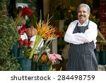 portrait of male florist... | Shutterstock . vector #284498759