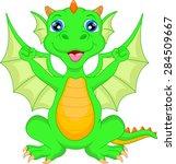 cute baby dinosaur cartoon   Shutterstock .eps vector #284509667