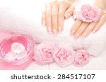french manicure with rose...   Shutterstock . vector #284517107