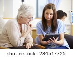 woman having chemotherapy with...   Shutterstock . vector #284517725