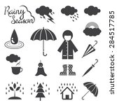 Rainy Season Mono Icons Set ...