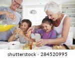 grandparents with grandchildren ... | Shutterstock . vector #284520995