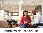 college student having meeting... | Shutterstock . vector #284521205
