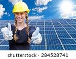 happy young woman standing in... | Shutterstock . vector #284528741