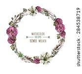 vector flower wreath in a... | Shutterstock .eps vector #284538719