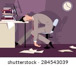 exhausted man sitting in the... | Shutterstock .eps vector #284543039