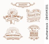 retro set label of bread bakery.... | Shutterstock .eps vector #284549201