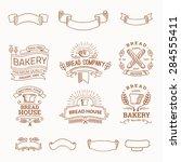 retro set label of bread bakery.... | Shutterstock .eps vector #284555411