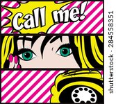 Pop Art Call Me Card Vector...