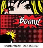 pop art boom card vector... | Shutterstock .eps vector #284558357