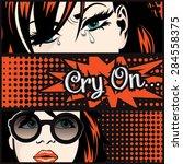 pop art crty on card vector... | Shutterstock .eps vector #284558375