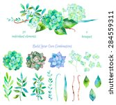 Stock vector vector floral set colorful floral collection with leaves and flowers drawing watercolor colorful 284559311