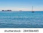 sailing boat at the coastline... | Shutterstock . vector #284586485
