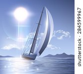 sailing yacht illustration | Shutterstock .eps vector #284599967