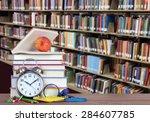 colorful books and bookshelf... | Shutterstock . vector #284607785