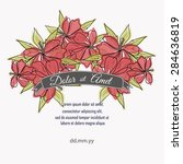 invitation card with floral... | Shutterstock .eps vector #284636819