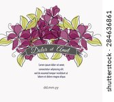 invitation card with floral... | Shutterstock .eps vector #284636861