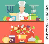 cooking flat illustration with... | Shutterstock .eps vector #284643821
