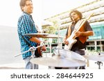 band of musicians playing in... | Shutterstock . vector #284644925